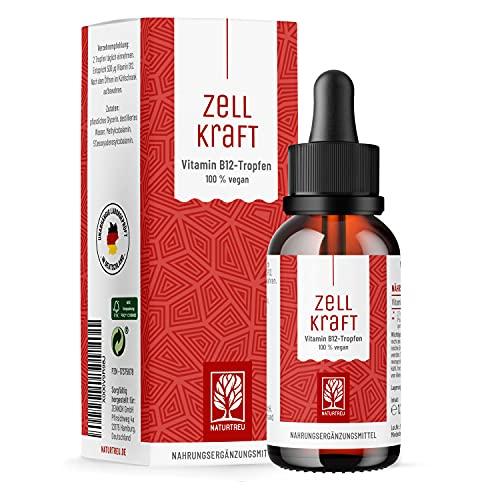 Vitamin B12 Tropfen hochdosiert - 250µg je Tropfen vegan & alkoholfrei - Methylcobalamin & Adenosyl (4:1 Verhältnis) - 50ml reines Vitamin B 12 - Sorgfältig hergestellt in Deutschland
