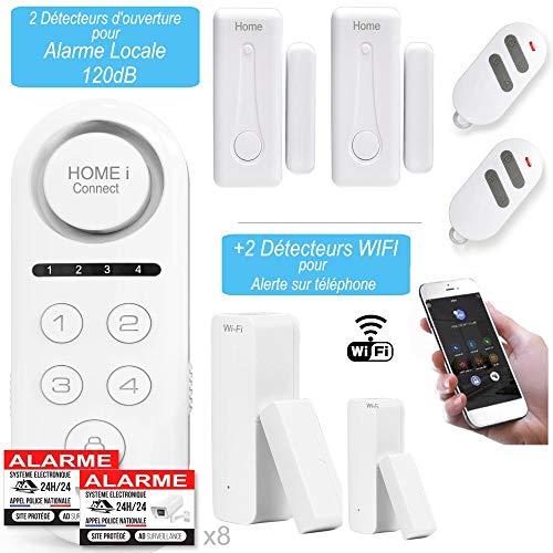 2 WLAN-Detektoren mit Benachrichtigung auf dem Telefon und 2 Melder für Alarmanlage Local mit Sirene 120 dB – Hausalarm – Tür- und Fensteralarm