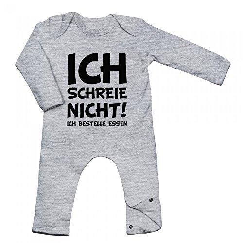 Shirt Happenz Schreihals Babybody Baby Neugeboren Weinen Langarm Langärmliger Strampler, Farbe:Graumeliert (Heather Grey Melange BZ13);Größe:6-12 Monate