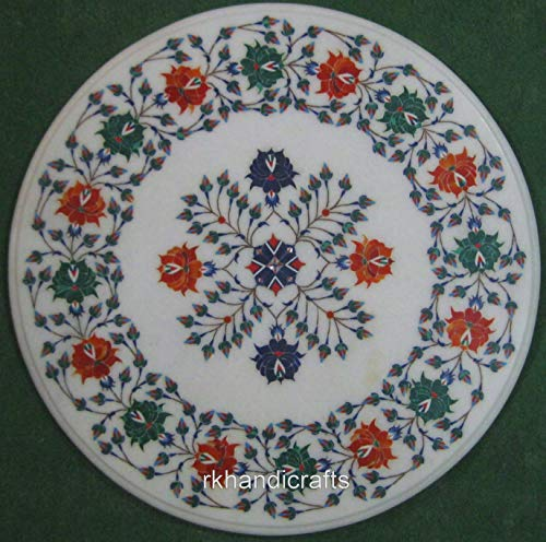 Rounded White Marble Coffee Table Top, Patio Coffee Table Ware Using Multi Colors Semi Precious Gemstones, Lotus Flower Design Pietra Dura Art, Size 21 inches