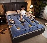 qmj Colchón De Futón Grueso Tapete De Tatami Japonés Plegable Colchón De Suelo Cojín De Dormir Doble Individual,Light blue-120 * 200cm