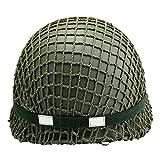 SHDT WW2 Ejército De EE.UU. M1 Verde Casco Replica con Net/Lienzo Correa De Barbilla + Guantes
