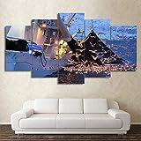 N\A Grandes Cuadros Decorativos Modernos para Sala - Cuadro Pared Lienzo - Golondrina De Mar. Barco De Pesca - Cuadros Decoracion Pasillo - 5 Panel