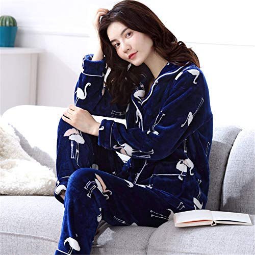 Weiche Damen Pyjamas, Dicke Bademäntel aus Korallenvlies, warme Hauskleidung für Herbst und Winter Größen A12 L