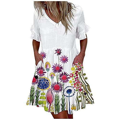 Eaylis Damen Sommer V-Ausschnitt Kleid Mode Kurzarm Kleid Plissee Minirock Kleid, Boho Kleid Damen Kurze lässige Kleider Hemdkleider T-Shirt...