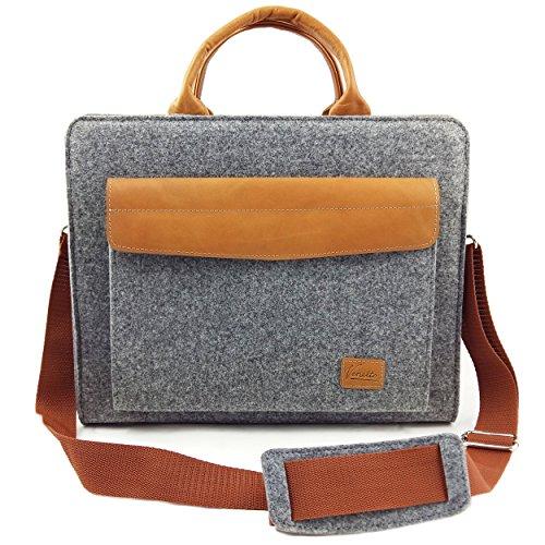 Venetto Filztasche Businesstasche Umhängetasche Aktentasche Arbeitstasche Handtasche Herren Damen Unisex Tasche aus Filz mit Schultergurt mit Echtleder-Applikationen für MacBook (Grau)