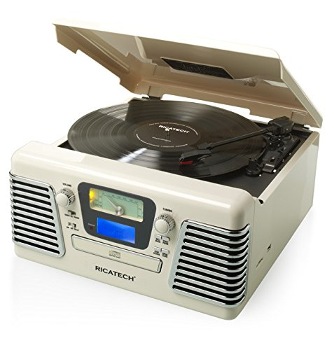 Ricatech RMC100 creme 5-in-1 Music Center Plattenspieler (CD-Player, Radio, MP3, USB, SD-Kartenslot, Audio) weiß