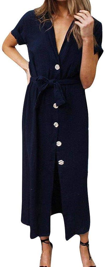 Women's Sexy V Neck Short Sleeve Summer Midi Dress Front Cardigan Button Up Tie Blouse Below Knee Dress for Women
