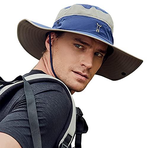 Cooltto Sombrero para el Sol Anti-UV UPF 50+ Sombrero de Pesca para Pesca al Aire Libre Gorra de 10cm de ala Ancha Transpirable Secado rápido para Acampar Senderismo Ciclismo-Azul Oscuro