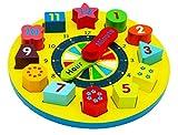 Toys of Wood Oxford Horloge en Bois Jouet pour Enfant- Horloge pour Apprendre L'heure avec Les Chiffres et la Forme Puzzle - Horloge d'apprentissage pour Les Enfants
