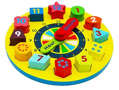 Toys of Wood Oxford Holzspielzeug Uhr lesen Lernen - Spielzeug Holz Puzzle - Holzuhr mit Zahlen und Formen - Holzklötze bunt Sortierspielzeug 3 Jahre