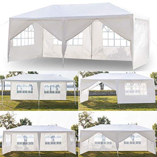 Soniker 10' x 20' Outdoor Canopy Tent White Waterproof Camping Gazebo Storage Shelter Pavilion Cater for Party Wedding Events BBQ (10x20ft, 6 Removable Sidewalls Included 2 Doors)