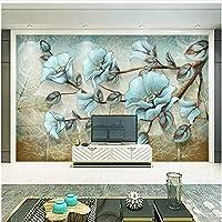 Xbwy 装飾壁画壁紙手描きの花壁画リビングルームテレビソファ背景壁画ヨーロピアンスタイルレトロ壁画壁紙-400X280Cm