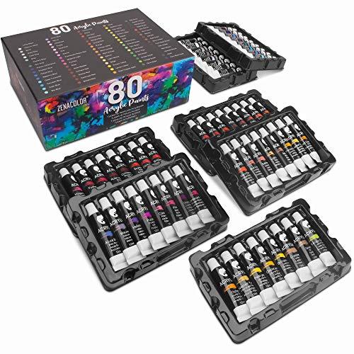 80 Tubos de Pintura Acrílica 12mL Zenacolor - Set para lienzos y manualidades