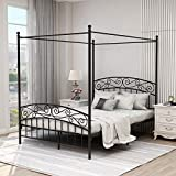 Canopy Bed with Sturday Metal Bed Frame No Box Spring Needed Mattress Foundation Black Queen Size