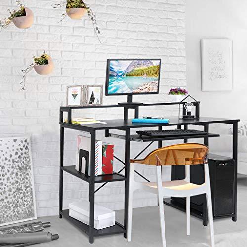 Modern Computer Desk with Storage Shelves Simple Study Table, Industrial Office Desk, Workstation Desk with Shelves (Black-1)