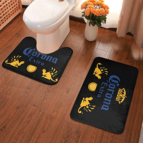 Farm Life Farmer Lover - Set di 2 tappetini da bagno in morbida flanella, antiscivolo, Corona Extra Birra, taglia unica