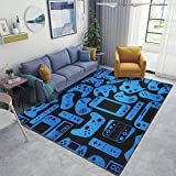 Home Area Runner Rug Pad Video Game Controller Background Gadgets Seamless Pattern Thickened Non Slip Mats Doormat Entry Rug Floor Carpet for Living Room Indoor Outdoor Throw Rugs