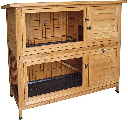 Caja de almacenamiento al aire libre con dos conejos de conejo de indias casa de madera pasarela,Wood Color