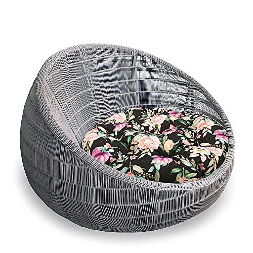 Cuscini per Sedie Papasan da Pavimento grandi - a Materasso Poltrone Esterno (Fiori 2, Ø 60 cm Poliestere)