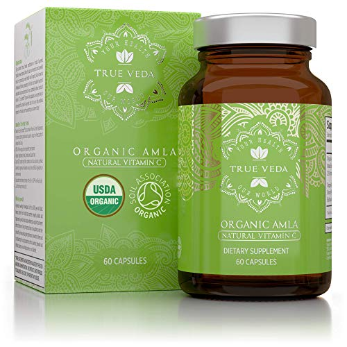 Organic Amla Vitamin C Capsules - Certified Organic by Soil Association | Potent Natural Sourced Vitamin C | Ayurveda | Vegetarian & Vegan Friendly | 60 Easy Swallow Amalaki Tablets | Made in The UK