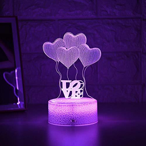 Lámpara de noche 3D con ilusión para niños, luz nocturna 3D, lámpara creativa para mesita de noche, lámpara romántica con globo, amor, luz infantil, decoración, regalo ZMSY