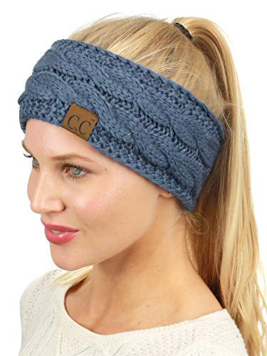C.C Soft Stretch Winter Warm Cable Knit Fuzzy Lined Ear Warmer Headband, Dark Denim