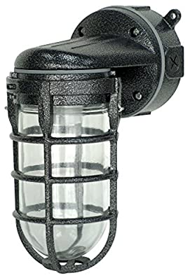 Woods L1707SVBLK Wall Mount Light in Hammered Black Finish Sturdy Die Cast Aluminum Cage, 100 Watt Incandescent, Industrial Design, Suitable for Indoor and Outdoor Use