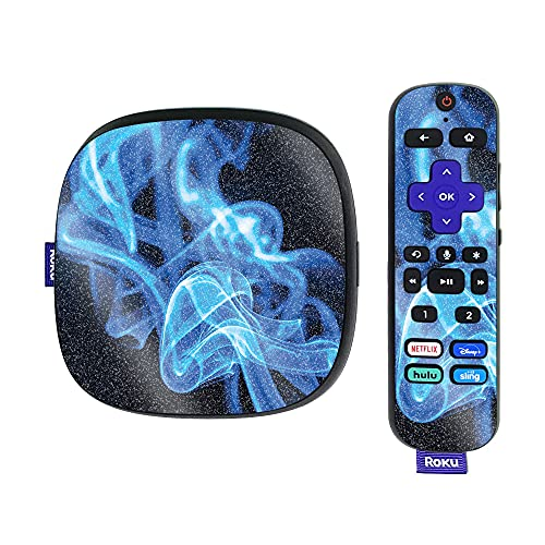 MightySkins Glossy Glitter Skin Compatible with Roku Ultra HDR 4K Streaming Media Player (2020) - Blue Flames   Protective, Durable High-Gloss Glitter Finish   Easy to Apply   Made in The USA
