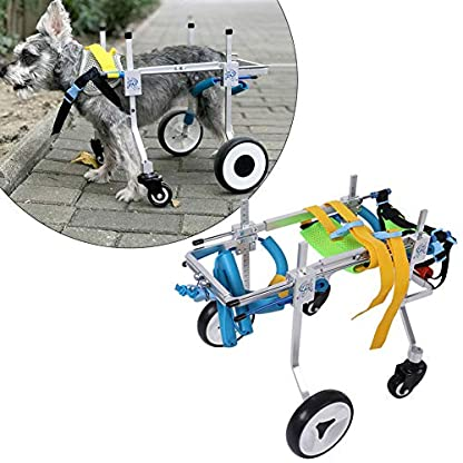 Pssopp Dog Wheelchair Aluminum alloy Pet Wheelchair Four Wheels Full Support Pet Rehabilitation Wheelchair Pet Wheelchair Cart for Hind Leg Recovery Handicapped Dog (XS Widen) 4