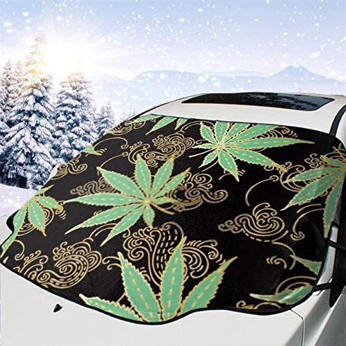 FETEAM Winddichte Windschutzscheibe Schneedecke Auto Sonnenschutz Visier Cannabis Marihuana verlässt grünes Gold Hand Winter Frostschutz Protector Alle Fahrzeuge