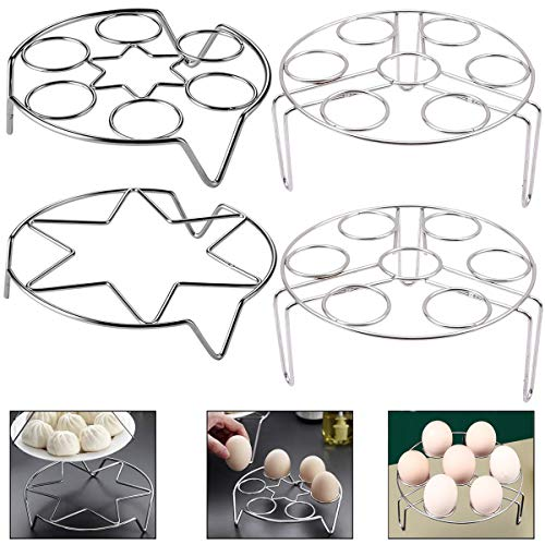 Steamed Egg Rack Fiyuer 4 pcs steam Round Stainless Steel Rack Stand for Cooking Cooling Steaming Baking Instant Pot Pressure Cooker