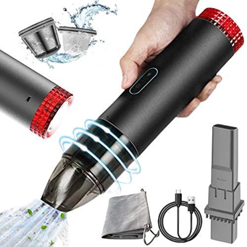 L & B Mini Aspiradora de Mano sin Cable Potente pequeño portátil Inalámbrico succión Fuerte para Coche, Oficina, Pelo Mascotas, Mesa. Batería Recargable USB, Linterna, luz de Emergencia