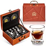 NEGTLO Whiskey Stone Gift Set, Whiskey Glass Gift Leather Box Set, 10oz Crystal Wine Glasses 8 Whiskey Rocks, with Coasters, Ice Tong, Best Gift Choice for Him, Father, Boyfriend