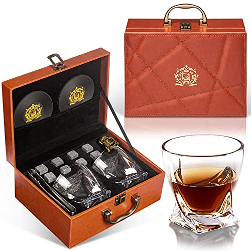 NEGTLO Whiskey Stone Gift Set, Whiskey Glass Gift Leather Box Set, 10oz Crystal Wine Glasses 8...