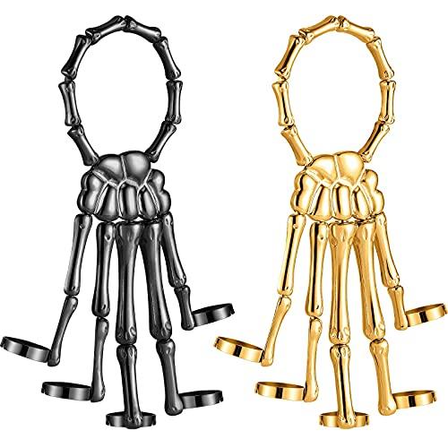 2 Pieces Halloween Skull Skeleton Hand Bracelet with Ring Metal Hand Bangle Bracelet Skull Fingers Wristband for Men and Women Jewelry (Gold, Black)