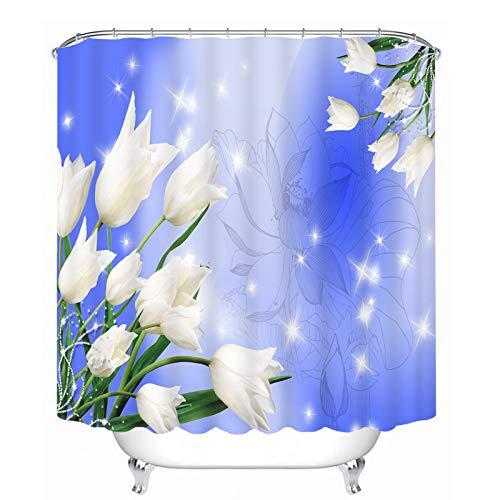 XZLWW Casa Ecologica douchegordijn, waterdicht, van polyester, 3D-model, bloemenpatroon, wit