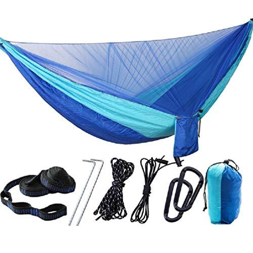 Hamaca para acampar con mosquitera Al aire libre Portátil Impermeable Ligero Nylon Paracaídas Hamacas individuales para mochileros Senderismo Viajes para senderismo Patio de playa Silla de viaje de