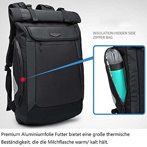 Neuleben Rucksack Roll Top Kurierrucksack mit USB Ladeport Laptopfach Brustgurt Wasserabweisend Ruckäcke Daypack für Damen Herren (Schwarz)