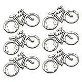 ZBSM Abrebotellas de Bicicleta de 6 Piezas, Novedoso Abridor de Botellas de Cerveza con Forma de Bicicleta de Metal, Llavero, Llavero para Hombres y Mujeres, Plateado