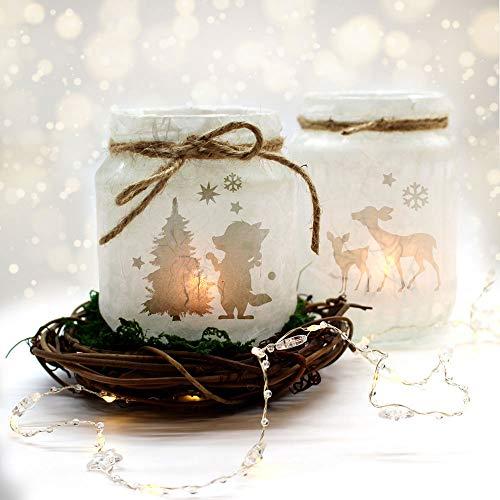 ilka parey wandtattoo-welt Feenlicht Feenwindlicht DIY Weihnachtsdeko Weihnachten Fuchs Weihnachtsbaum Rehe Sterne Schneeflocken Lichtdeko Winter Aufkleber Glas Sticker wl4