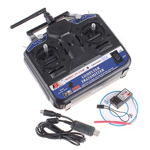 2.4G FS-CT6B 6 CH Radio Model RC Transmitter & Receiver PPM/GFSK Heli/Airplane/Glid 12V DC