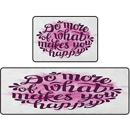 Kitchen Rugs, Do More of What Makes You Happy Slogan with Watercolor Brush Strokes Background, 20'x63' + 20'x31' Kitchen mats Cushioned Anti Fatigue, Pink Purple