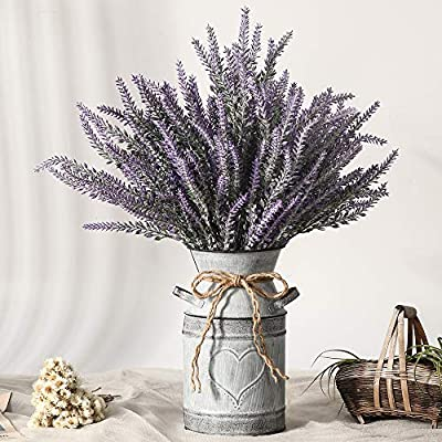 LESING Artificial Lavender Flowers with Vase Fake Lavender Plants in Decorative Metal Vase Rustic Vintage Flowers for Home Farmhouse Decoration (Heart,Purple)