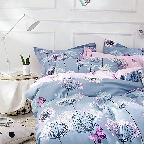 VClife Chic Queen Bedding Sets Floral Branches Butterfly Printed Duvet Comforter Cover Sets Girl Teens Cotton Pink Blue Bedding Collection, Soft Hypoallergenic, Lightweight, Breathable, Durable, Queen