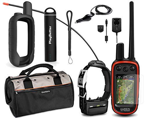 Garmin Alpha 100 TT15 Combo Hunting Armor Bundle w/PlayBetter Portable Charger, Silicone Case, Screen Protectors & Tether | Garmin Field Bag, Birdseye Satellite (Black Case)