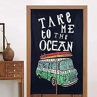 日本ののれんタペストリー面白い引用は、バンとサーフボードで私を海に連れて行ってくれますドアカーテンパーティションスクリーンパネルカスタムタペストリーリネン戸口カーテン家の装飾