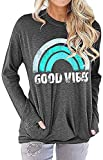 Mallene Women Good Vibes Sweatshirt Long Sleeve with Side Pockets Casual Blouses T