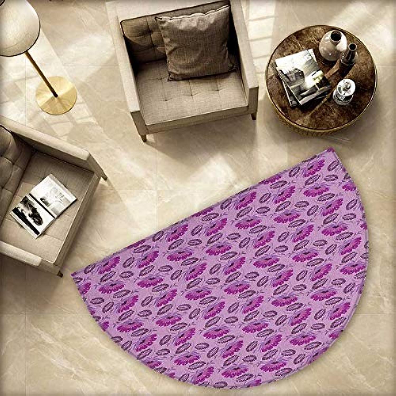 Purple Semicircle Doormat Floral Composition Damask Inspired Illustration of Nature Victorian Halfmoon doormats H 78.7  xD 118.1  Purple purplec Dark Purple