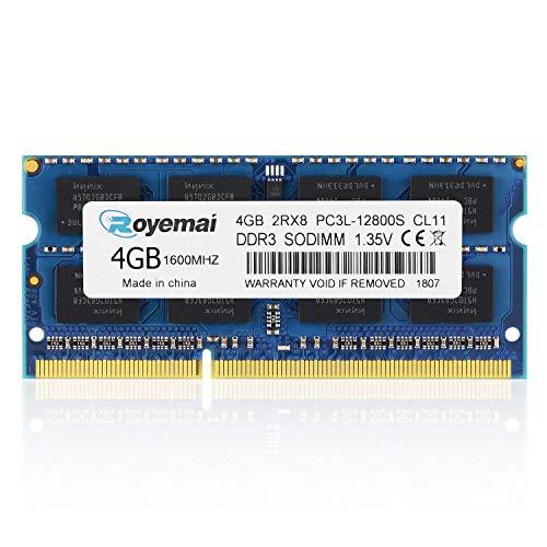 DUOMEIQI PC3-12800 4GB DDR3 1600MHz PC3L 12800S 2RX8 1,35V CL11 204-pin SODIMM Arbeitsspeicher für Laptop